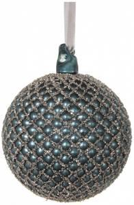 Bilde av Blå glasskule med glitter