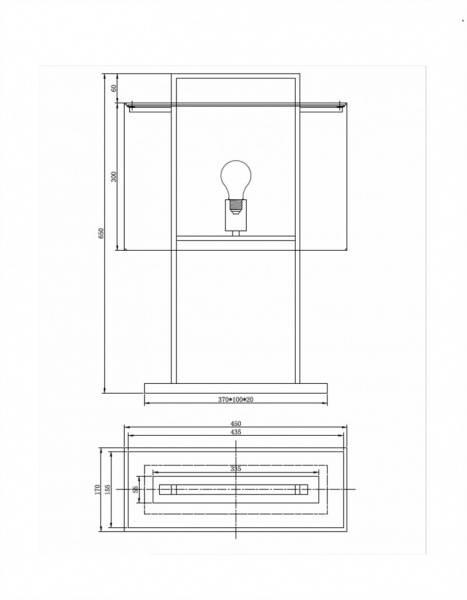 Aruba Bordlampe H65, svart med rektangulær svart skjerm (Avlang)