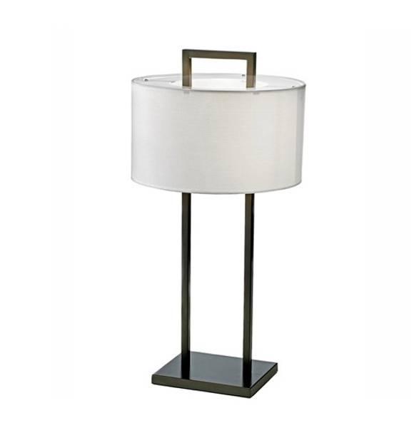 Aruba Bordlampe H75 Svart 2 ben, Hvit, rund skjerm