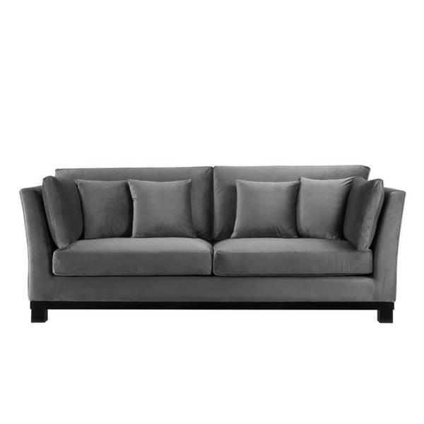 York Sofa, Mørk Grå Velour