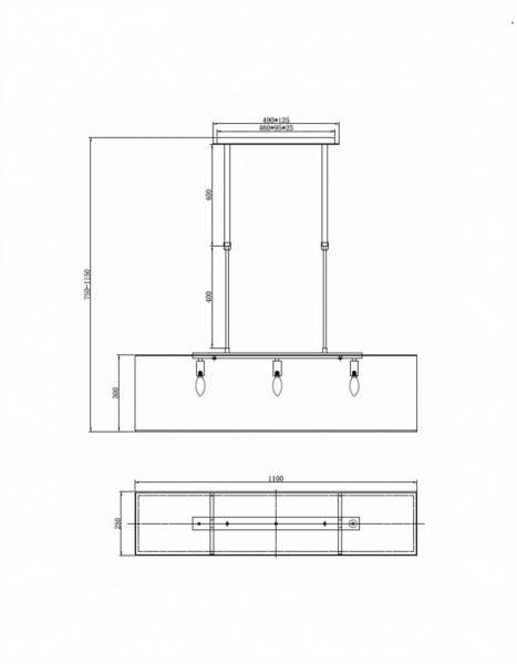 Aruba Taklampe B110cm Rektangulær svart, hvit skjerm