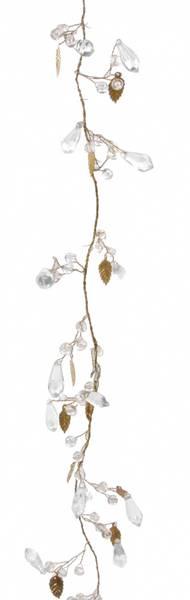 Perlegirlander med gullblader 180cm