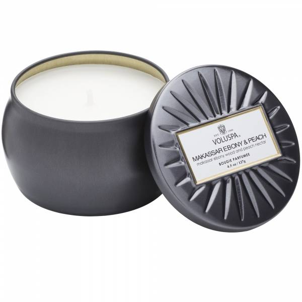 Makassar Ebony & Peach Decorative Tin Candle 113g