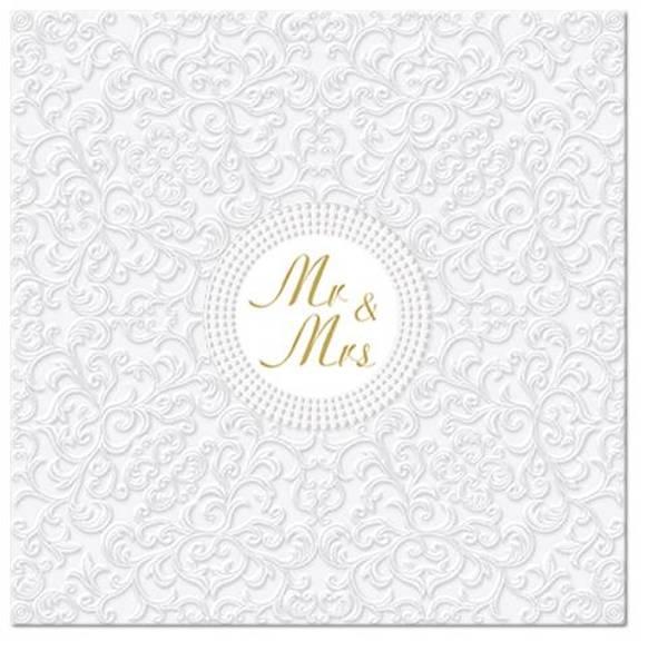 Bryllupsservietter Mr & Mrs