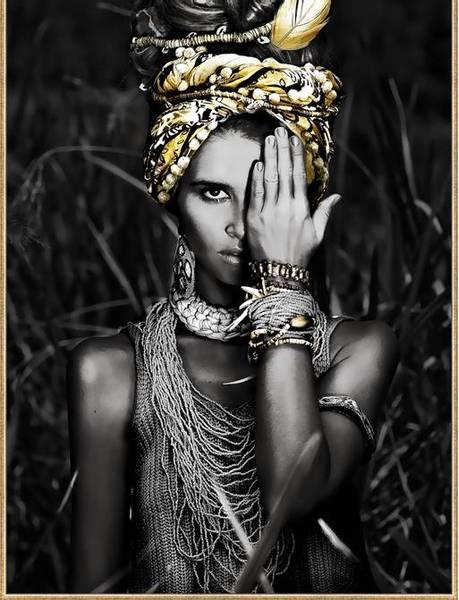 Bildeprint Afrikansk m/gullramme 70x105cm