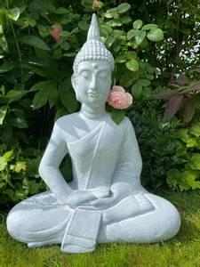 Bilde av Buddha, sittende grå H64cm