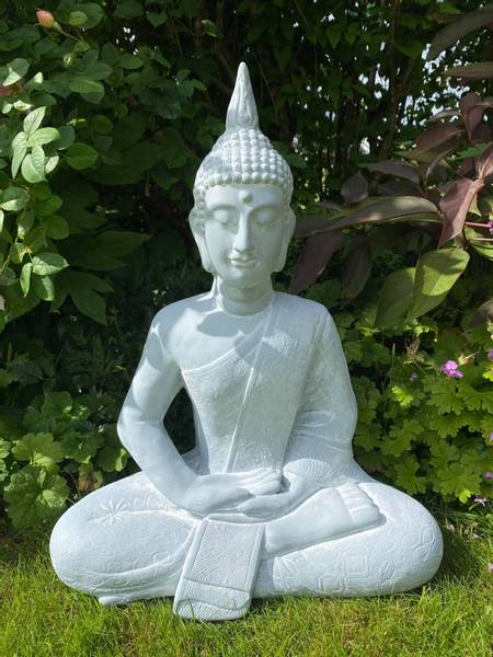 Buddha, sittende grå H64cm