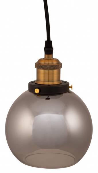 BC Vinduslampe grått glass og gulloppheng.
