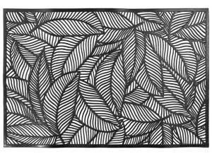 Bilde av Dekkebrikke bladmønster svart