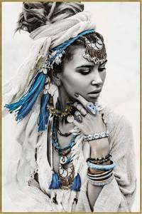 Bilde av Bildeprint kvinne Blå&Hvit,