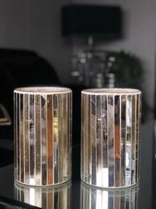 Bilde av  Lyslykt gullstripet glass
