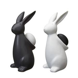 Bilde av Hare med egg, hvit. H17cm
