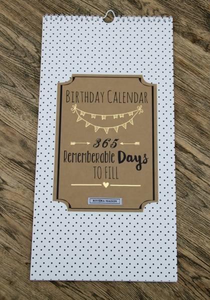 RM Birthday Calendar