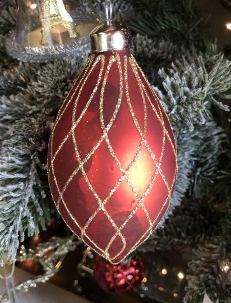 BC Juletrekule Rød, harlekinmønster (smal)