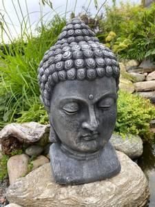 Bilde av Buddha-hode, mørk grå H47cm