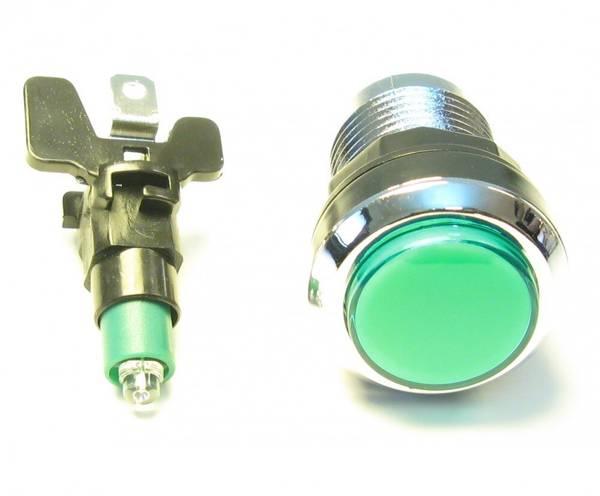 Green Illuminated Pushbutton, Silverplated