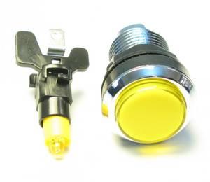 Image of Yellow Illuminated Pushbutton, Silverplated