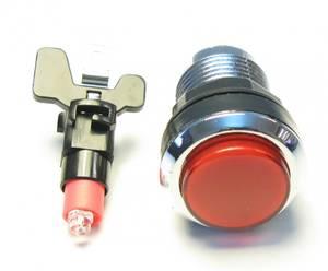 Image of Red Illuminated Pushbutton, Silverplated