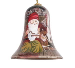 Bilde av Håndmalt julebjelle i glass - Nisser på låven