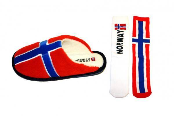 Tøfler i norsk flagg m/sokker
