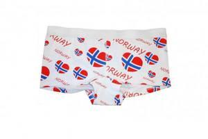 Bilde av Dameboxer - Hvit med norske flagg hjerter