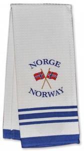 Bilde av Kjøkkenhåndkle - Brodert norsk flagg - Hvitt og