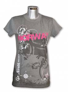 Bilde av Dame t-skjorte - Grå med rosa Norway patch