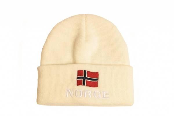 Strikkelue med norsk flagg, hvit