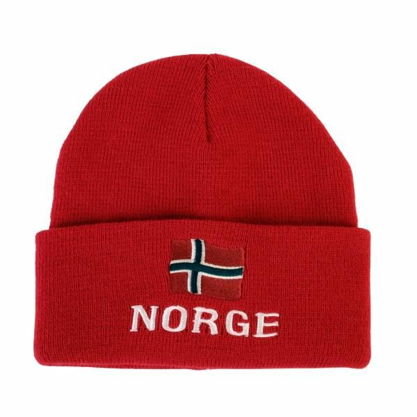 Strikkelue med norsk flagg, rød