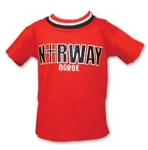 Bilde av T-skjorte - Barn - Brodert Norway m/flagg - Rød