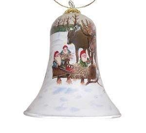 Bilde av Håndmalt julebjelle i glass - Nisser og elg