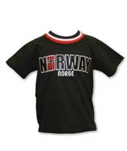 Bilde av T-skjorte, marine, Norway m/flagg brodert