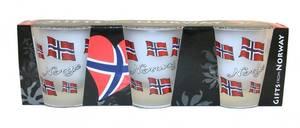 Bilde av Shot glass - Norske flagg - 3 pakk