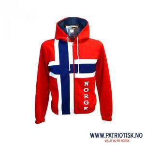 Bilde av College jakke med hette i norske farger