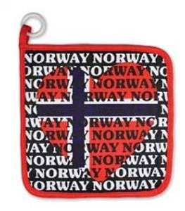 Bilde av Grytelapp - Sort - Norsk flagg - Hjerte