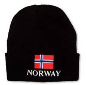 Bilde av Strikkelue - Norsk flagg - NORWAY - Svart