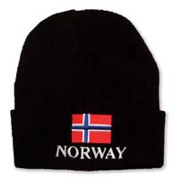 Strikkelue - Norsk flagg - NORWAY - Svart