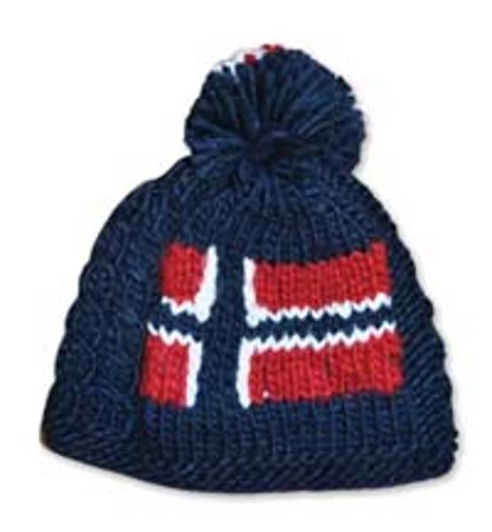Håndstrikket lue - Norsk flagg - Marine