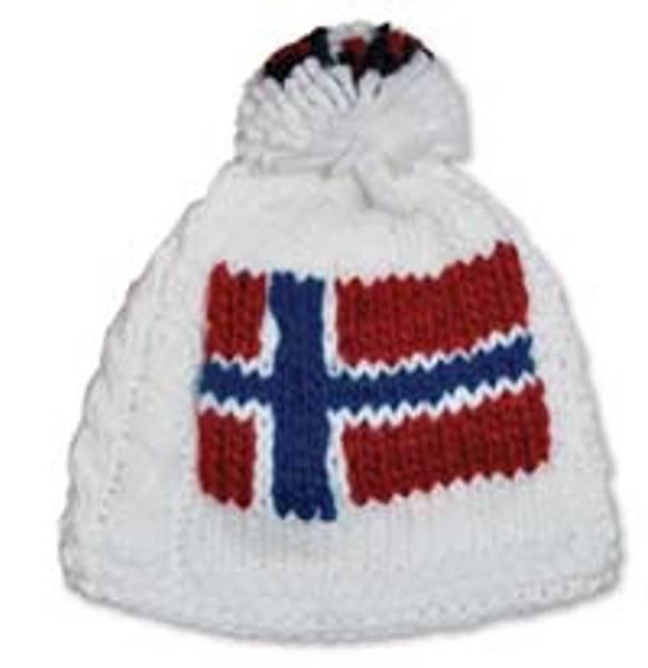 Håndstrikket lue - Norsk flagg - Hvit