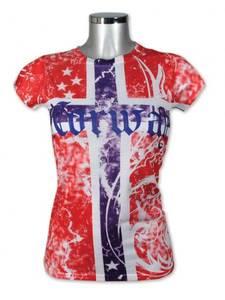 Bilde av Dame t-skjorte - Heldekkende flagg - Rød