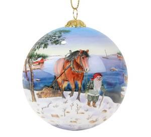 Bilde av Håndmalt julekule i glass - Nisse med hest ved
