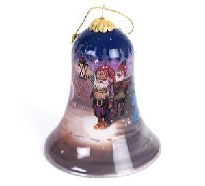 Bilde av Håndmalt julebjelle i glass - Nisse med lykt