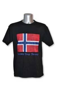 Bilde av T-skjorte - Slitt norsk flagg - Sort
