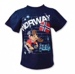 Bilde av T-skjorte - Barn - Grafittivegg og elg - Blå