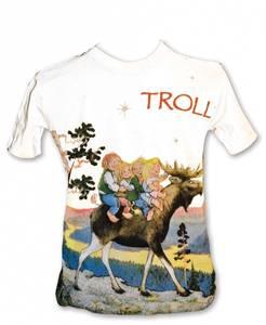 Bilde av T-skjorte - Barn -Troll rider på elg - Hvit