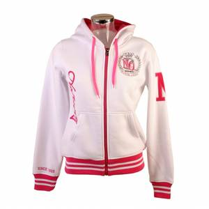 Bilde av College jakke med hette - Hvit og rosa