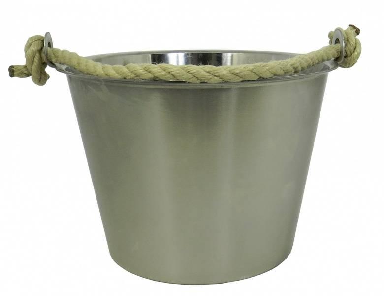 Stålbøtte 8 liter med håndtak av tau