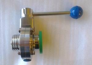 """Bilde av Butterfly valve 1,5"""" TC x 1"""" SMS gjenger Pull handle"""