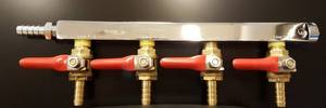 Bilde av Krome CO2 fordeler med kraner, 4 utganger, 9mm