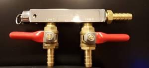 Bilde av Krome CO2 fordeler med kraner, 2 utganger, 9mm
